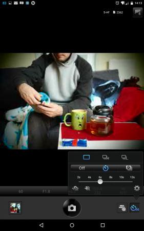 Timer-Einstellung in Olympus Image Share App Screenshot